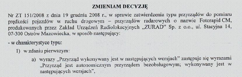 Fotorapid CM. Zmiana Zatwierdzenia Typu NR ZZT 4/2009